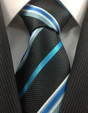 Stylish Necktie Black Turquoise
