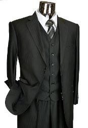 Black Tone on Tone 3pc 2 Button Italian Designer Suit Black