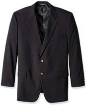 Black 2 Button Single Breasted Portly Classic Notch Lapel Blazer