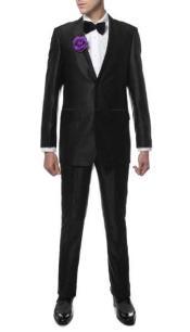 Single Breasted 2 Button Closure Notch Lapel Sharkskin Slim Fit Suit Black