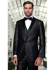 Black Two Toned Vested 2 Buttons Suit With Black Lapel 100% Wool Italian Tuxedo Looking