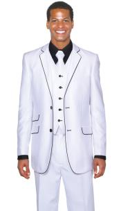 Lapel Two Toned Mens 2 Button 3 Piece Single Breasted Church Suit White Tuxedo With Black Trim