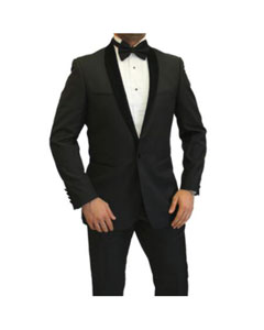 Mens Two Toned Full Lapel Shawl Black Tuxedo wool Fabric Suit