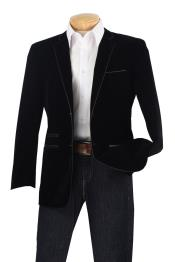 Luxurious Velvet Slim Sport Coat - Faux Leather Trim Black velour