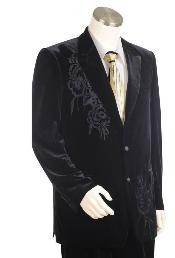 Two Buttons Suit Style Comes In Black  Velour with pattern Peak Lapel Pleated Pants Leisure Casual