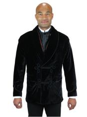 Mens Double Breasted Vintage Velvet Smoking Black Jacket