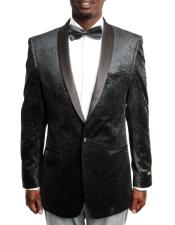 Black Velvet Fashion Tuxedo Jacket with Satin Shawl Lapel 100% Wool