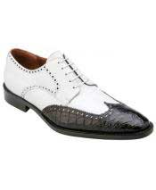 Mens Black ~ White Genuine World Best Alligator ~ Gator Skin ~ Italian Calfskin Lace Up Leather