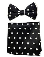 Black / White Polyester Satin dual colors (White Polka Dot) Bowtie