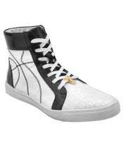 Mens Black ~ White Lace Up Genuine Crocodile High Top Sneakers