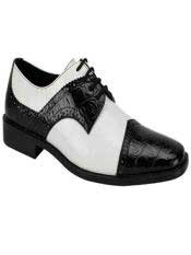 Fashion Two Toned Black/White Dress Oxford Shoes Perfect for Men