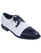 Mens Oxfords Style Genuine Caiman Belly And Teju Lizard Los Altos Shoes Black White