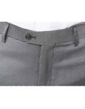 Mens Pleated or Flat Front houndstooth checkered Tweed Pattern Dress Pants