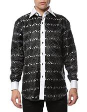 Black-White Shiny Satin Floral Spread Collar Paisley Dress Shirt Flashy Stage