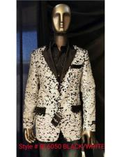 Mens Black ~ White Fashion Shiny Sequin Paisley Blazer Sport coat Tuxedo