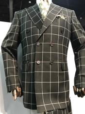 Mens Black and White Pattern Plaid ~ Windowpane Mens Double Breasted Suits