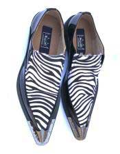 Stylish Tiger ~ Zibra ~ Leopard Pattern Slip On Spat Black/White Dress Oxford Shoes Perfect for Men