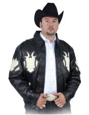 Mens Black/Winter White Genuine Lambskin Leather/Crocodile Jacket