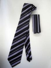Tie Set Black W/ Silver And Lavender Design