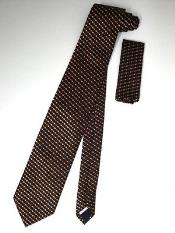 Tie Set Black W/ Mini Orange Spots