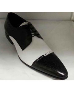 Brand Mens Black/White Leather Lace Up Shoes