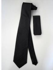 Tie Set Black W/ White Pinstripes Design