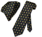 w/ Yellow Polka Dots Necktie Handkerchief Matching Tie Set