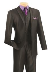 3 Piece Wool Feel Slim Fit Suit - Black
