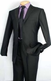 Fashion Slim Fit Suit in Luxurious Wool Feel Black