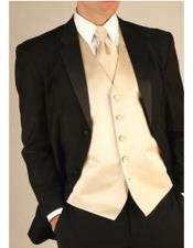 Black Wool Tuxedo Suit With Champagne Color Vest & Tie &