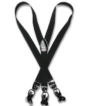 Mens Black Suspenders Y Shape Back Elastic Button & Clip Convertible