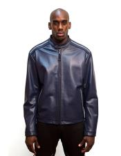 Mens Black Front Zip Closure Leather Jacket with Stingray Trimming