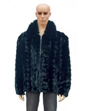 Fur Black Pull Up Zipper Fox Collar Diamond Mink Jacket