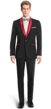 Black And Red Two Toned Tuxedo Super 150s Wool Suit - Red Tuxedo