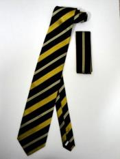 Tie Set Black Gold patterned Stripes