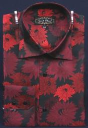 Black / Red Fancy Polyester Dress Fashion Shirt With Button Cuff