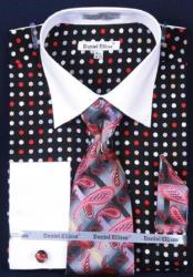 Polka Dot Dress Fashion Shirt/ Tie / Hanky Set White Collar Two Toned Contrast With Free Cufflinks