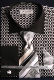 Pattern Fratello Big and Tall French Cuff Black and White Mens Dress Shirt