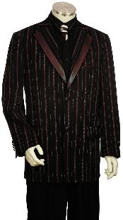 Luxurious 3 Piece Fashion Vested Unique Tuxedo Black and Burgundy ~ Wine ~ Maroon Color Pleated Pants