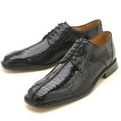 Black Ostrich/Lizard Lace-Up