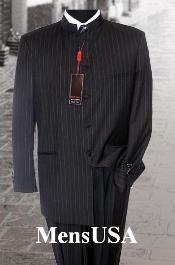 Black Pinstripe Mandarin Collar