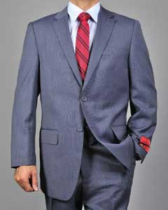 Mens patterned Blue 2-Button Wool Suit