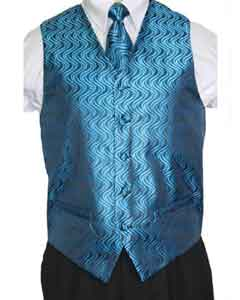 Mens Blue/Black Vest Tie 4-Piece Accessory Set Also available in Big and Tall Sizes