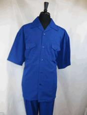 Buttons Short Sleeve Single Breasted Royal Blue Casual Two Piece Walking