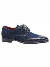 Mezlan Brand Blue ~ Camel Genuine Crocodile / Suede Wingtip Oxford Shoes