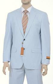 Sear sucker suit Style Fine Blue Pinstriped Spring Summer Weight Cotton