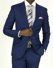 Pick Stitched 2 Button Twilight Blue Slim Fit Skinny Suit