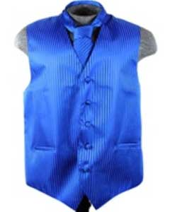 Tuxedo Wedding Vest Tie Set Blue