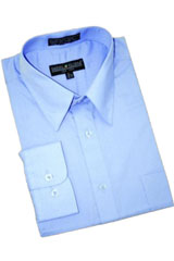 Blue ~ Sky Blue Cotton Blend Dress Shirt With Convertible Cuffs