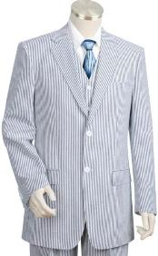 2pc 100% Cotton Seersucker Sear sucker suit Blue offWhite